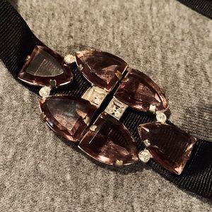 😻 Vintage Deco Belt Buckle EUC Choker Purple